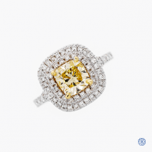 18k white and yellow gold 1.09ct fancy yellow diamond engagement ring