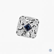 custom made 14k white gold sapphire and diamond ring