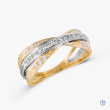 14k yellow and white gold diamond band