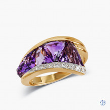 18kt Yellow Gold Amethyst and Diamond Ring