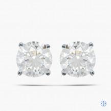 Birks 18k White and Yellow Gold 0.92ct  Diamond Stud Earrings