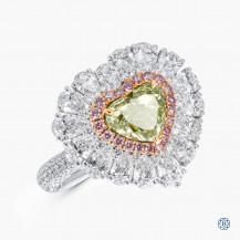 18k white and rose gold 1.51ct Green Diamond Ring