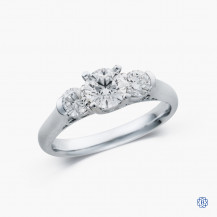 14k white gold 1.12ct three diamond engagement ring