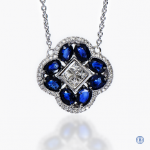 14k white gold sapphire and diamond pendant with chain