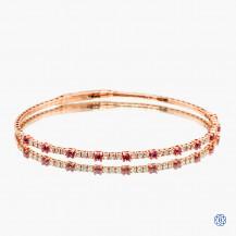 14k rose gold ruby and diamond stretch bracelet