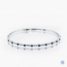 14k white gold sapphire and diamond stretch bracelet