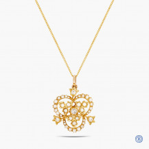 14k Yellow Gold Pearl and Diamond Pendant with Chain