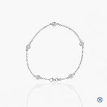 14kt White Gold Maple Leaf Diamonds Bracelet