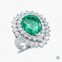 18k White Gold Emerald and Diamond Cluster Ring