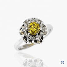 14k white gold 0.70ct yellow diamond ring