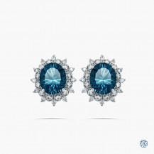14k white gold 12.0cts blue topaz and diamond cluster earrings
