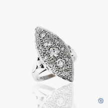 14k white gold and diamond cluster style ring