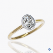 14k yellow and white gold diamond solitaire engagement ring