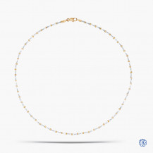 14k White and Yellow Gold Station Bead Chain