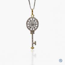 "10k yellow gold and diamond ""key"" pendant"