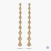 14k yellow gold and diamond drop style earrings