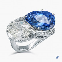 18kt White Gold Toi et Moi 5.01ct Diamond and Sapphire Ring