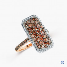Sterling Silver Rose Gold Plated brown diamond ring