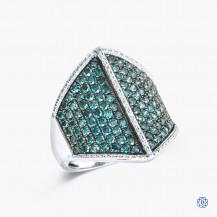Sterling Silver Blue Diamond Ring