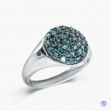 Sterling Silver with Blue Diamonds Ring