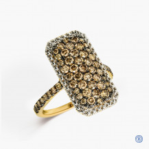 sterling silver yellow gold rhodium plated brown diamond ring