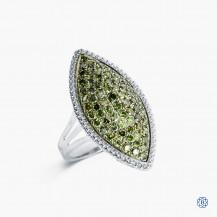 Sterling Silver Green Diamond Ring