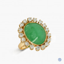 14kt yellow and white gold jade and diamond ring