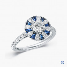 18k white gold 0.60ct Canadian diamond and sapphire cluster style engagement ring