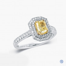 Platinum and 18kt yellow gold 0.90ct Yellow Maple Leaf Diamond Engagement Ring