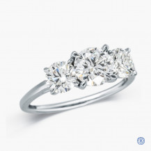 14kt White Gold 1.00ct Lab Created Diamond Three Stone Engagement Ring