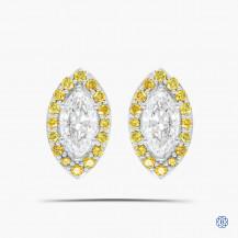 18kt White Gold Maple Leaf Diamonds Stud Earrings