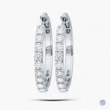 14kt White Gold 2.04ct Maple Leaf Diamond Hoop Earrings