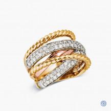 10k Tri-Colour Gold Diamond Ring