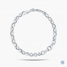 10k White Gold Oval Link Bracelet