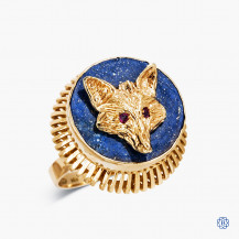 14k Yellow Gold Lapis and Ruby Fox Ring