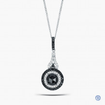 14k White Gold Black Diamond Pendant with Chain