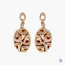18kt red gold diamond drop earrings