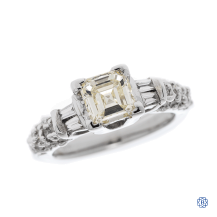 Sophisticated 18kt White Gold 0.84ct Square Emerald Cut Diamond Engagement Ring