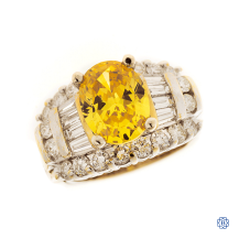 14kt Yellow and White Gold Diamond & Cubic Zirconia Ring