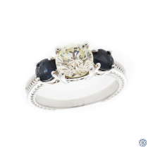14kt white gold 1.29ct diamond and sapphire ring