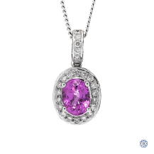 18kt White gold Sapphire and Diamond pendant with chain