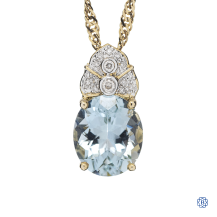 14kt yellow gold aquamarine and diamond pendant with chain