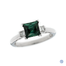 Tacori Platinum tourmaline and diamond engagement ring