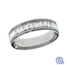 18k white gold and baguette diamond band