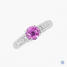 Gabriel & Co 14k White Gold Pink Sapphire and Diamond Ring