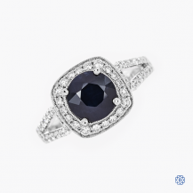 Simon G 18k White Gold 1.77ct. Sapphire and Diamond Ring