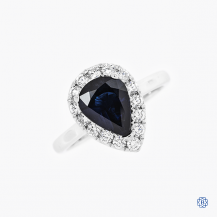 14k White Gold 1.64ct. Sapphire and Diamond Engagement Ring