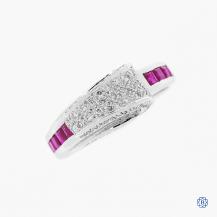 18k White Gold Ruby and Diamond Estate Ring