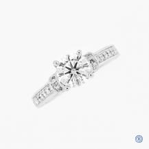 Scott Kay 19k White Gold Moissanite and Diamond Engagement Ring