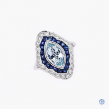 Beverly K 14k White Gold Aquamarine Sapphire and Diamond Ring